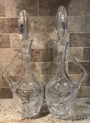 Vintage Crystal Cut Decanter Etched Butterfly And Flower