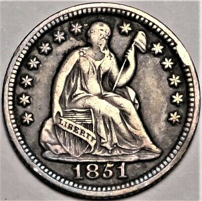 1851 Seated Half Dime Extremely Fine XF H10c Coin from Old Collection
