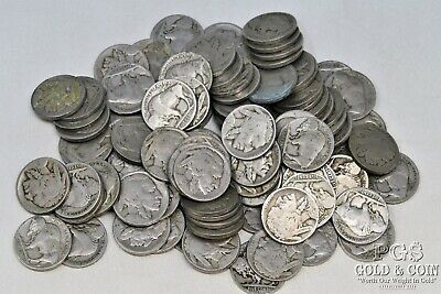 100 Buffalo Nickels 5c 2-3 Digit Random Date Circulated US Coins $5.00 18481