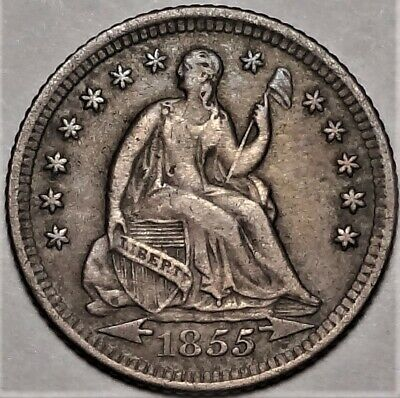 1855-O Seated Half Dime Choice Very Fine VF+ to XF H10c Coin from Old Collection