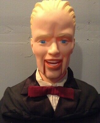 "Rare 11"" Max Headroom Ventriloquist Dummy Puppet Head Bust by Bendy Toys 1980s"