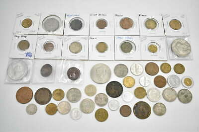 50 Unsearched Vintage Foreign World Coin Collector Estate Coin Lot Some Carded