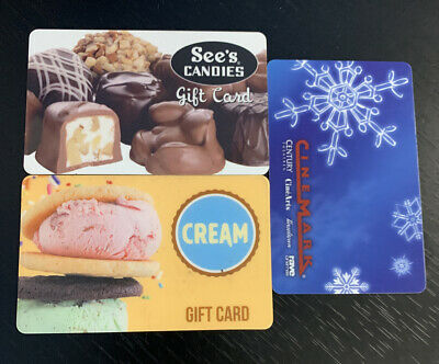 $47.93 Cinemark, See's Candy, CREAM Ice Cream Gift Card Lot - Physical Cards
