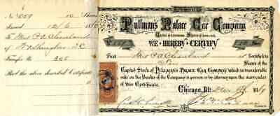 1869 Pullmans Palace Car Stock Certificate signed by George Pullman