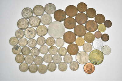 55+ Unsearched Vintage Foreign World Coin Collector Estate Coin Lot Some Carded