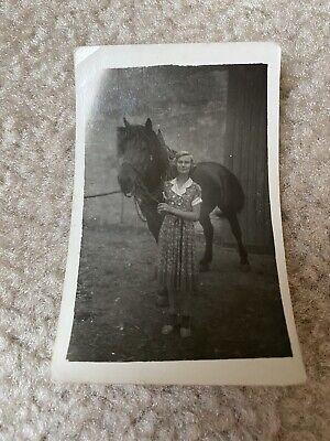 Beautiful Country Wholesome Girl Flower Dress & Horse 1930s Vintage Photograph