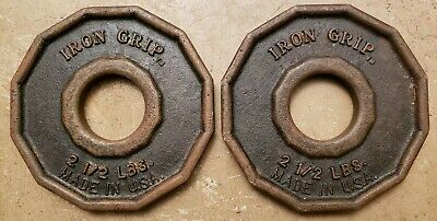 Iron Grip Olympic Size Barbell Weights Pair of 2.5 Lb Plates home gym USA Made