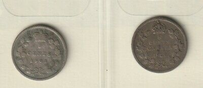 1901 & 1909 Canadian 5 Cent Silver