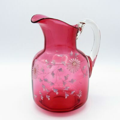 Antique Large Cranberry Glass Pitcher with Hand Painted Flowers, NR