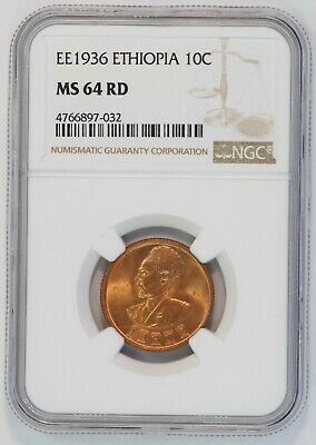 EE 1936 Ethiopia 10 Cent Coin (NGC MS 64 RD MS64RD) KM# 34 Assir Santeem (B3377)