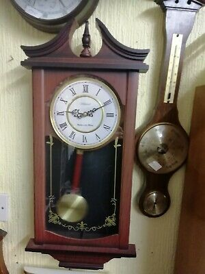 (1558) Brown Long Case Wall Clock With Westminster Chimes Swinging Pendulum Made