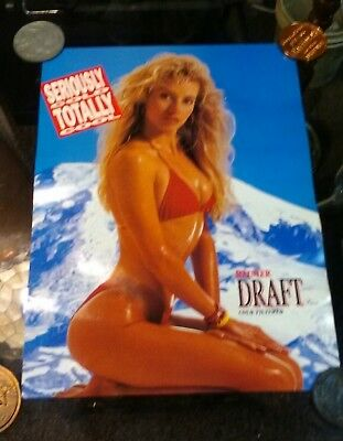 "1991 Rainier Draft Beer Poster PIN UP GIRL NOS Unused 20""x 15"""
