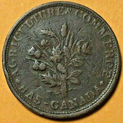 Lower Canada Canadian Colonial Token - Bank Of Montreal Un Sous