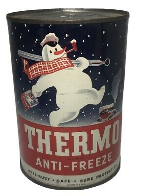 Scarce Vintage Thermo Anti-Freeze One Quart Can / Gas Oil / Snowman / Sign
