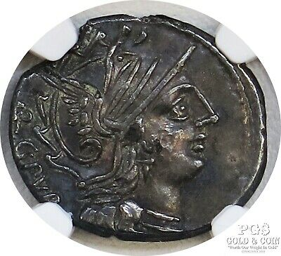 Roman Republic L.Sentius 101BC Plated Denarius Ancient Coin NGC XF 15812