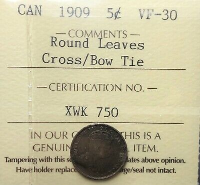 Canada 1909 Round Leaves Cross Over Bow Tie Five Cent Silver 5 Cents ICCS VF30