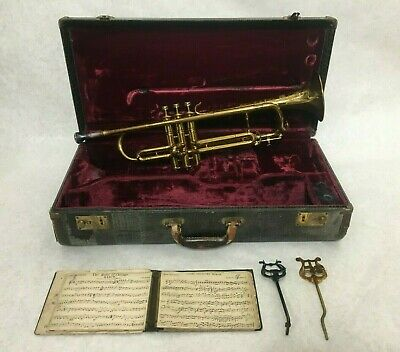 Vintage 1940s Selmer Bundy Trumpet w/ Case, X13 Mouthpiece and More - Very Nice!