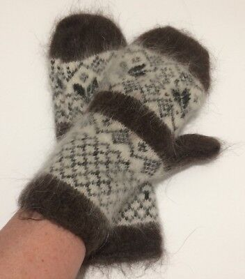 Women's Knitted Sheep wool Mohair mittens thick warm snowflake M Russia