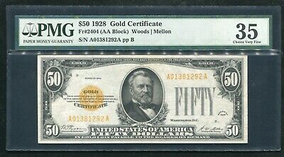Fr. 2404 1928 $50 Fifty Dollars Gold Certificate Pmg Choice Very Fine-35