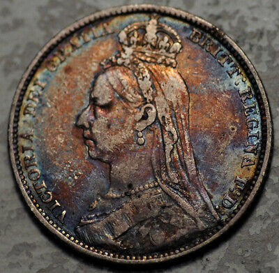 Great Britain Silver 1 Shilling 1889 (Colorful Toning!)