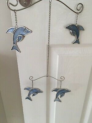 metal blue DOLPHIN ceiling hanging MOBILEs childrens girls bedroom decor sealife