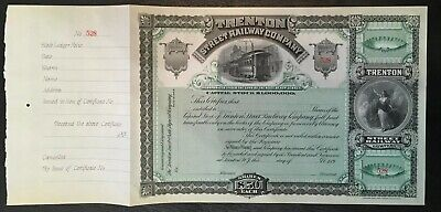 USA Trenton Street Railway Co. share cert 1890's