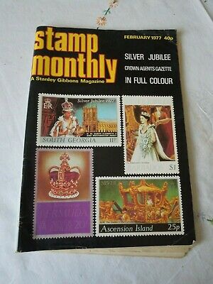 Collectors Magazine. Stamp Monthly.  February 1977.  Silver Jubilee. Olympians