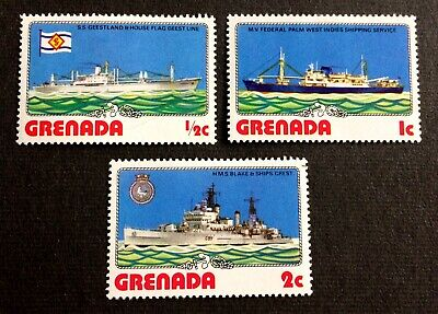 Grenada ships - 3 top mint hinged stamps