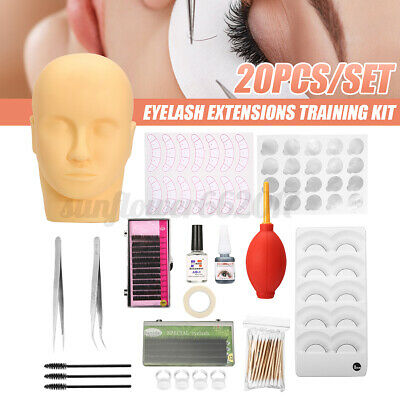 20PCS/Set Semi Permanent Eyelash Extensions Kit Lash Mannequin Training Curl AU