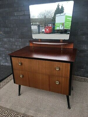 Vintage Mid Century Small Dressing Table With Mirror