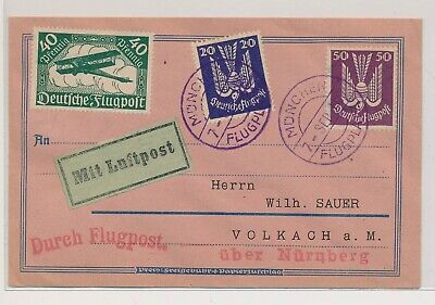 LL76285 Germany 1923 Munich to Volkach airmail good cover used