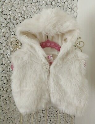 Girls age 3-4 years faux-fur vest/gilet,white by E-VIE ANGEL hardly worn!