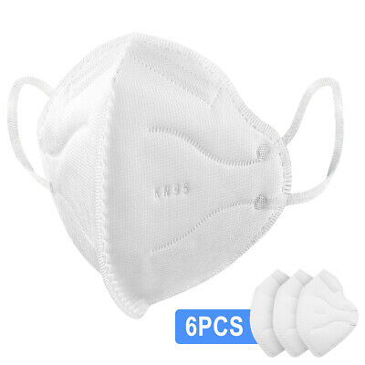 6 Pcs - KN95 Disposable Face Mask Protective Mouth Nose Covers Comfortable Fit