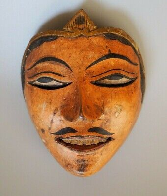 Good Small Vintage Indonesian Bali Java Carved Painted Wooden Dance Mask Topeng?