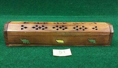 Lovely Carved Sheesham Wood Incense Storage Box Holder With Brass Elephant Inlay