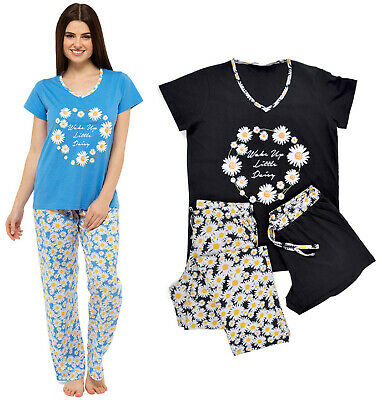 Ladies Pyjamas 3Pc Pj Sets Shorts Long Pj Daisy Print Uk 8-22 Night Wear Bnwt