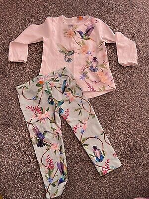 Ted Baker Girls Outfit Highgrove Top And Leggings Set 18-24 Months