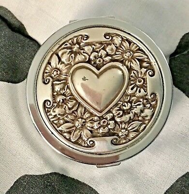 BRIGHTON ROUND Heart & Floral pill BOX HINGED LID 2 COMPARTMENT 💖 silver plated