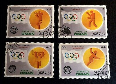 State of Oman 🇴🇲 Olympic Games 1972 in Munich - 4 cancelled stamps