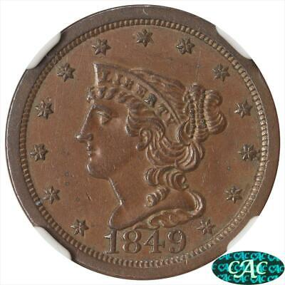 1849 Braided Hair Half CentNGC AU 58 BN CAC C-1 Large Date