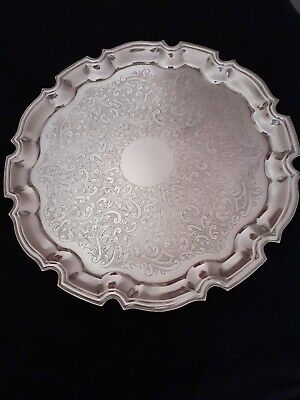 "Vintage Cavalier Silver Plate Tray 12.5""  Diameter - Great Condition"
