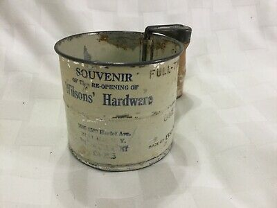 Vintage Advertising 2 Cup Flour Sifter Wilsons Hardware NY, D3