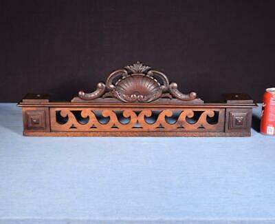 """*25"""" French Antique Pediment/Crest in Carved Walnut Wood Salvage"""