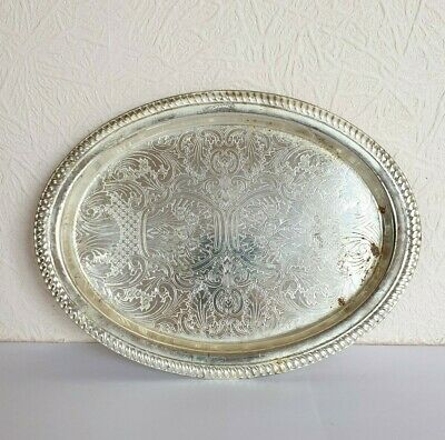Small Vintage Oval Silver Plate TRAY - 23cm wide - Made in England
