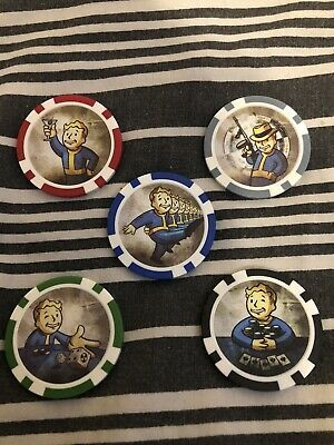 Fallout New Vegas Poker Chips Set Of 5 (Collectors Bethesda)