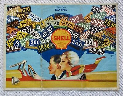 1932 Shell Oil Co. Road Map of Maine with License Plate Graphics