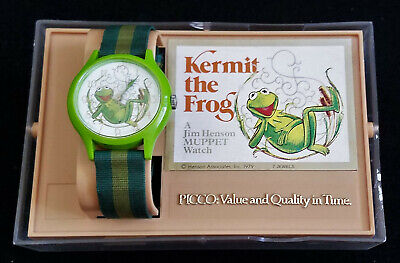 Vintage KERMIT THE FROG WATCH in case 1979 PICCO 7 Jewels Jim Henson Mechanical