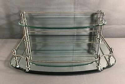 Frontgate Mirrored Chrome & Glass Tiered Dresser Vanity Tray