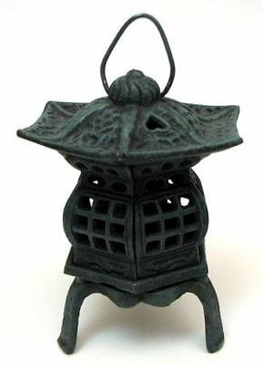 Cast Iron Footed Pagoda Lantern Rustic Look