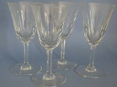 FOUR BURGUNDY WINE OR WATER GLASSES CRYSTAL SAINT LOUIS CERDAGNE height 6,90""